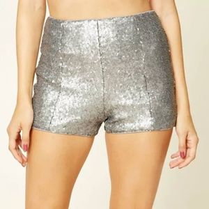 Forever 21 Silver Sequin Shorts - NWT